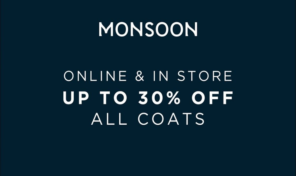 30% off coats and boots at Monsoon