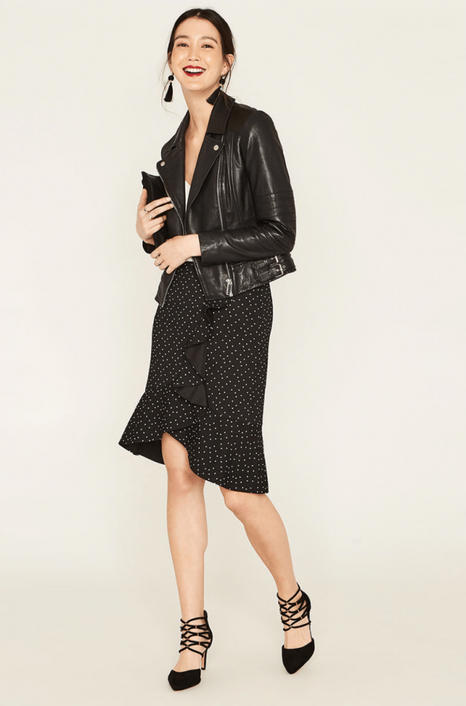Oasis Fashions wrap dress and leather jacket