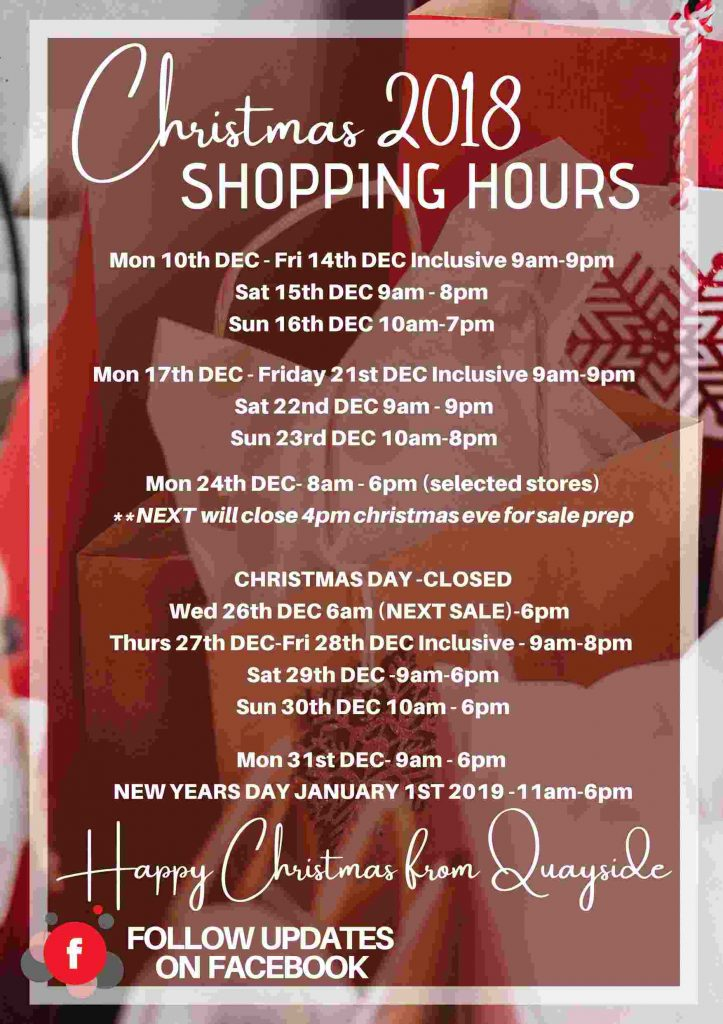 Christmas 2018 Shopping Hours