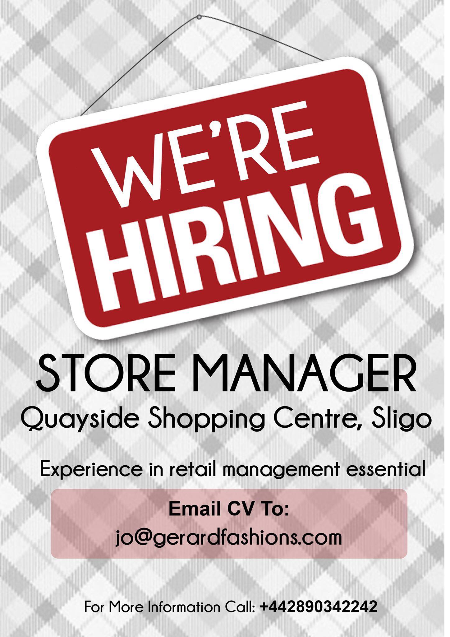 We're hiring - Store manager